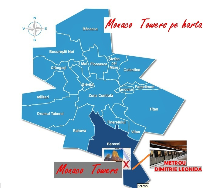localizare Monaco Towers complex comercial si rezidential, sector 4, inchirieri apartamente