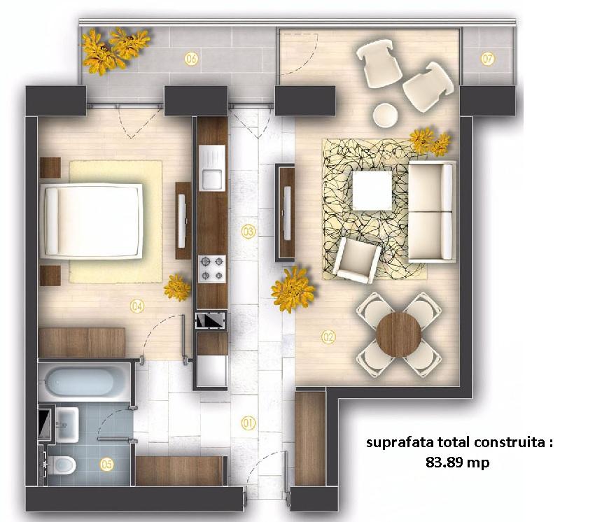 apartamente de inchiriat 2 camere 83,89 mp, proprietar, sector 4