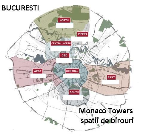 Distributia cladirilor de birouri in Bucuresti